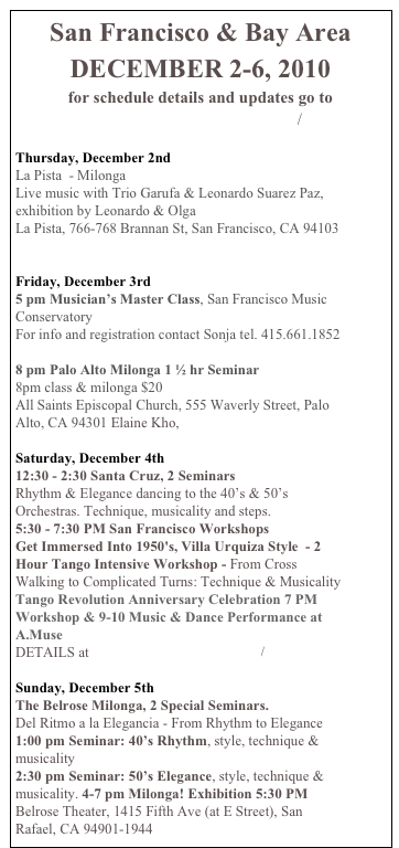 San Francisco Amp Bay Area December 2 6 2010for Schedule